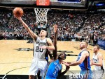 SAN ANTONIO, TX - JANUARY 31:  Manu Ginobili #20 of the San Antonio Spurs goes for a lay up against the Oklahoma City Thunder during the game on January 31, 2017 at the AT&T Center in San Antonio, Texas. NOTE TO USER: User expressly acknowledges and agrees that, by downloading and or using this photograph, user is consenting to the terms and conditions of the Getty Images License Agreement. Mandatory Copyright Notice: Copyright 2017 NBAE (Photos by Mark Sobhani/NBAE via Getty Images)