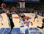 NEW YORK, NY - FEBRUARY 12: Manu Ginobili #20 of the San Antonio Spurs shoots a lay up against the New York Knicks on February 12, 2017 at Madison Square Garden in New York City, New York.  NOTE TO USER: User expressly acknowledges and agrees that, by downloading and or using this photograph, User is consenting to the terms and conditions of the Getty Images License Agreement. Mandatory Copyright Notice: Copyright 2017 NBAE  (Photo by Nathaniel S. Butler/NBAE via Getty Images)